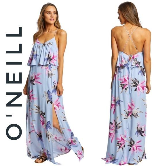 14ebd47fed9 O NEILL Milly Maxi dress blue floral strappy 1036